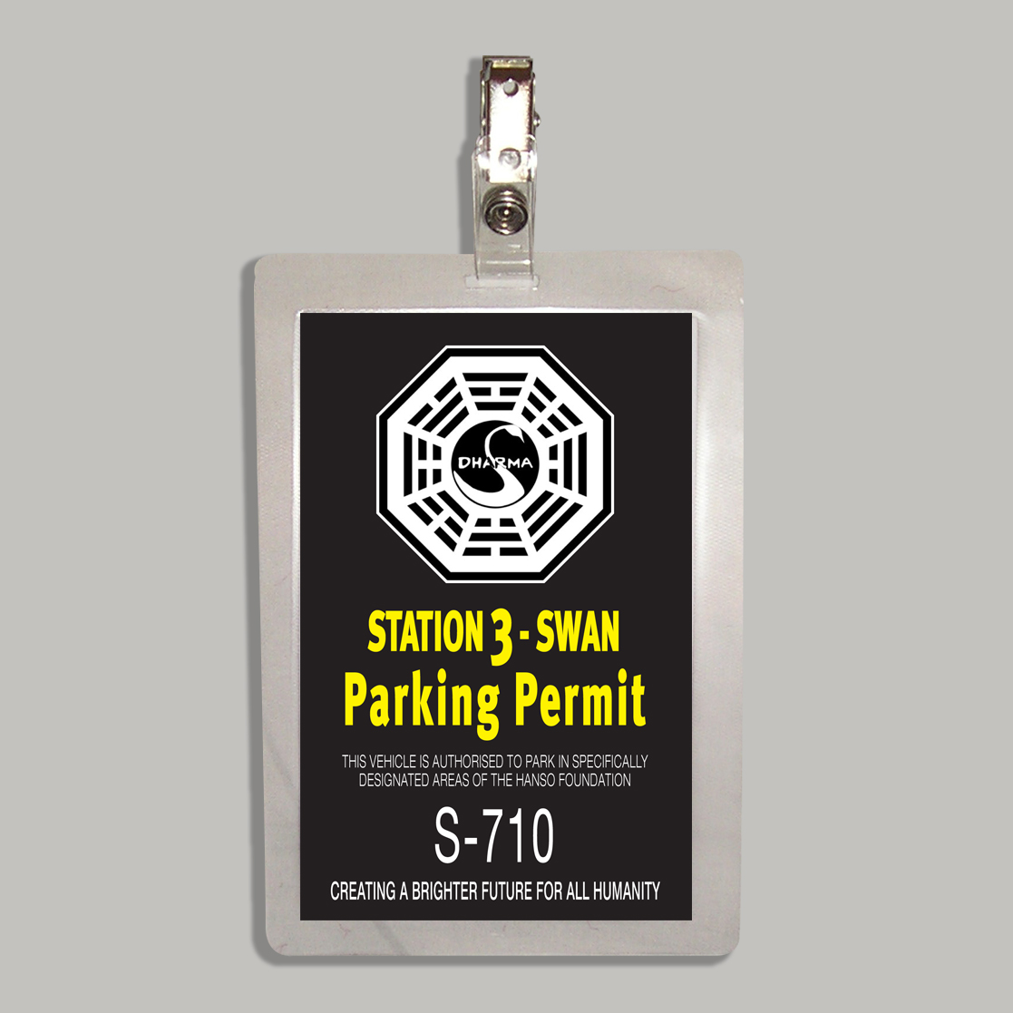 Dharma Station 3 Swan Parking Permit From The Television Series Lost