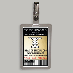 Torchwood Head Of Special Ops Weapons Specialist Cosplay Identification Badge From The Television Series Torchwood