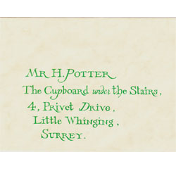 Movie memorabilia specialists the monster company harry potter harry potter hogwarts invitation letter sealed envelope with child shoe footprint from the film harry potter stopboris Image collections